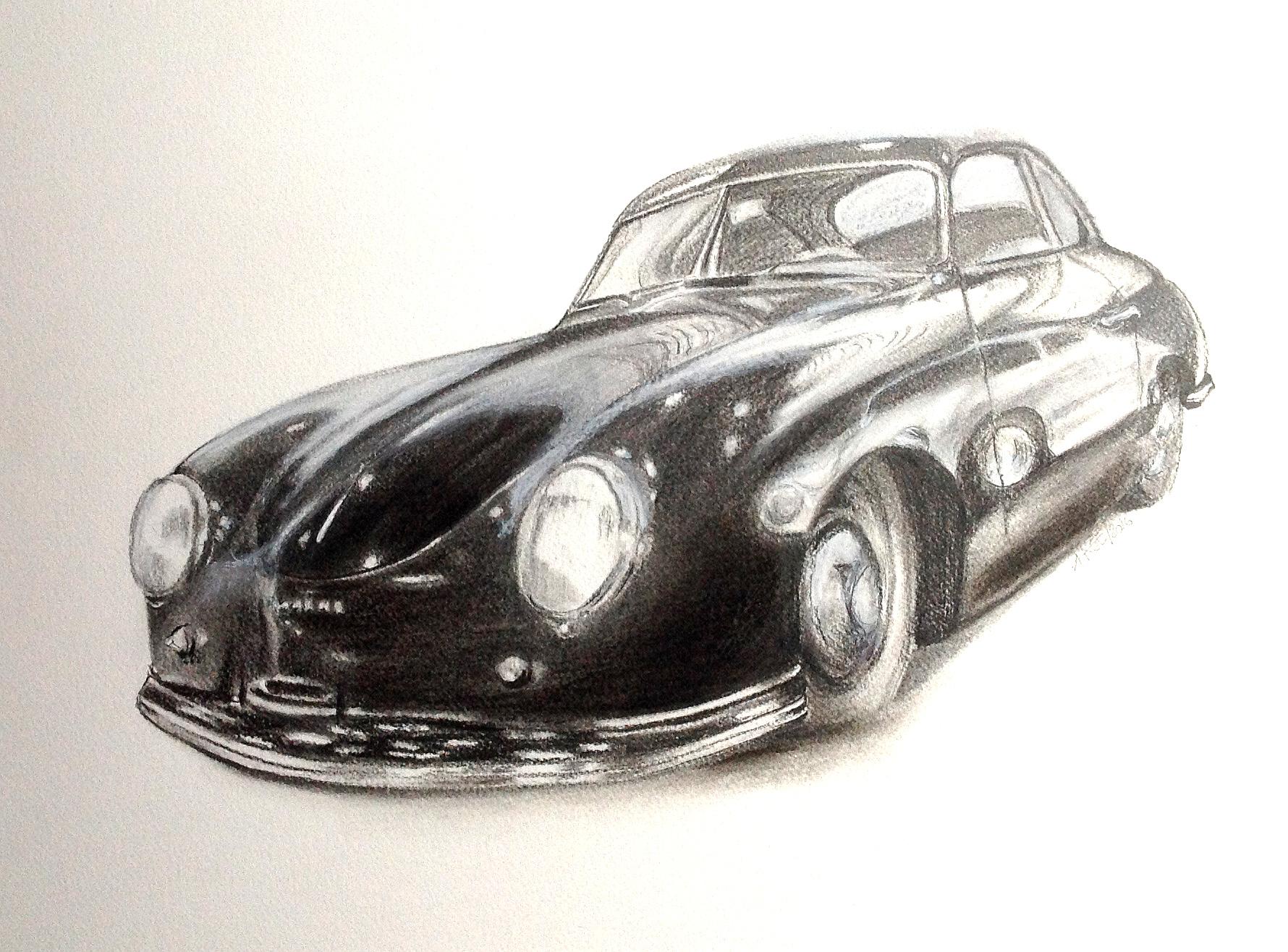 Two Porsches | Kohlezeichnung | 30 x 40 cm