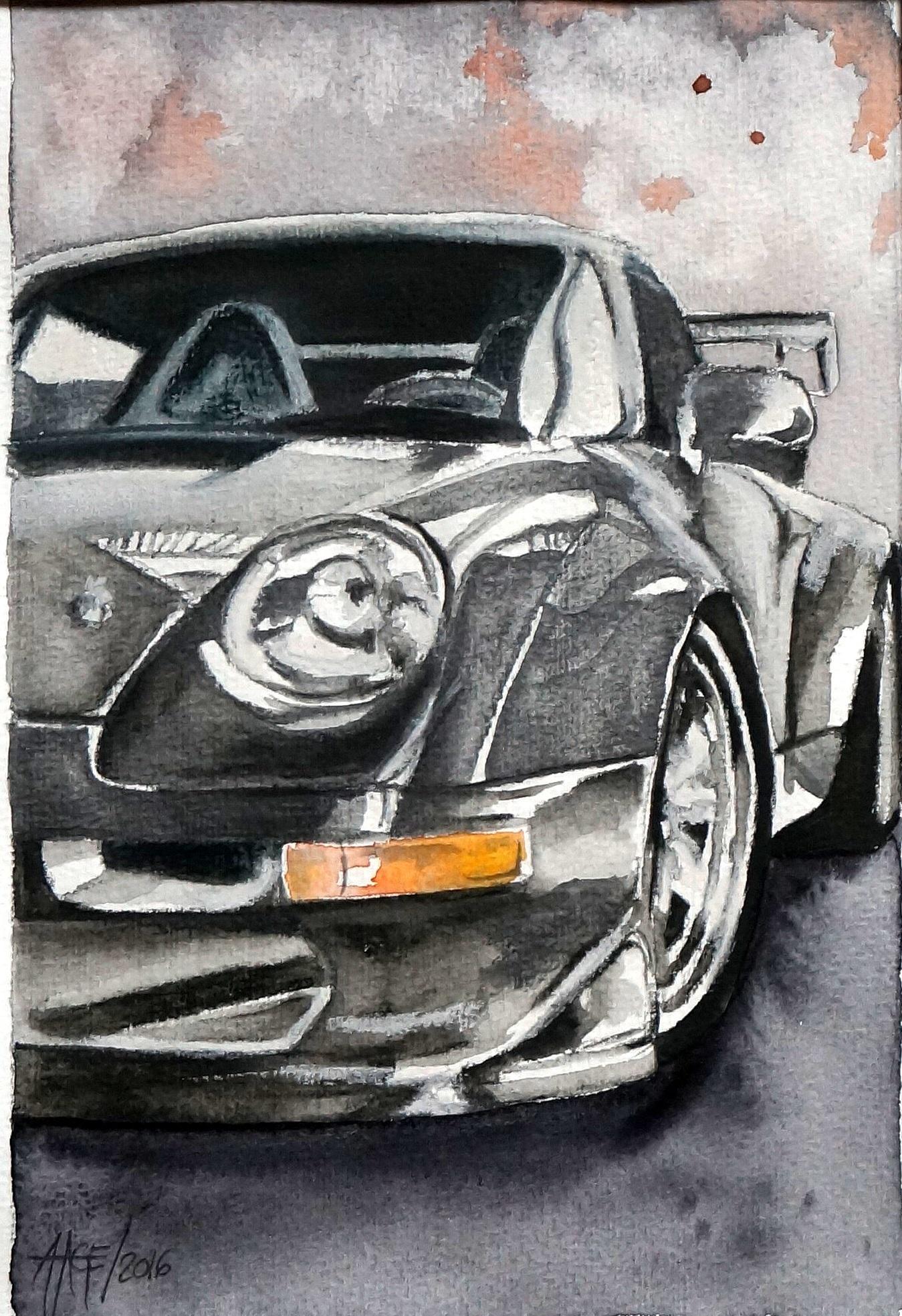 Schwarzer Porsche | Aquarell | 16 x 23 cm