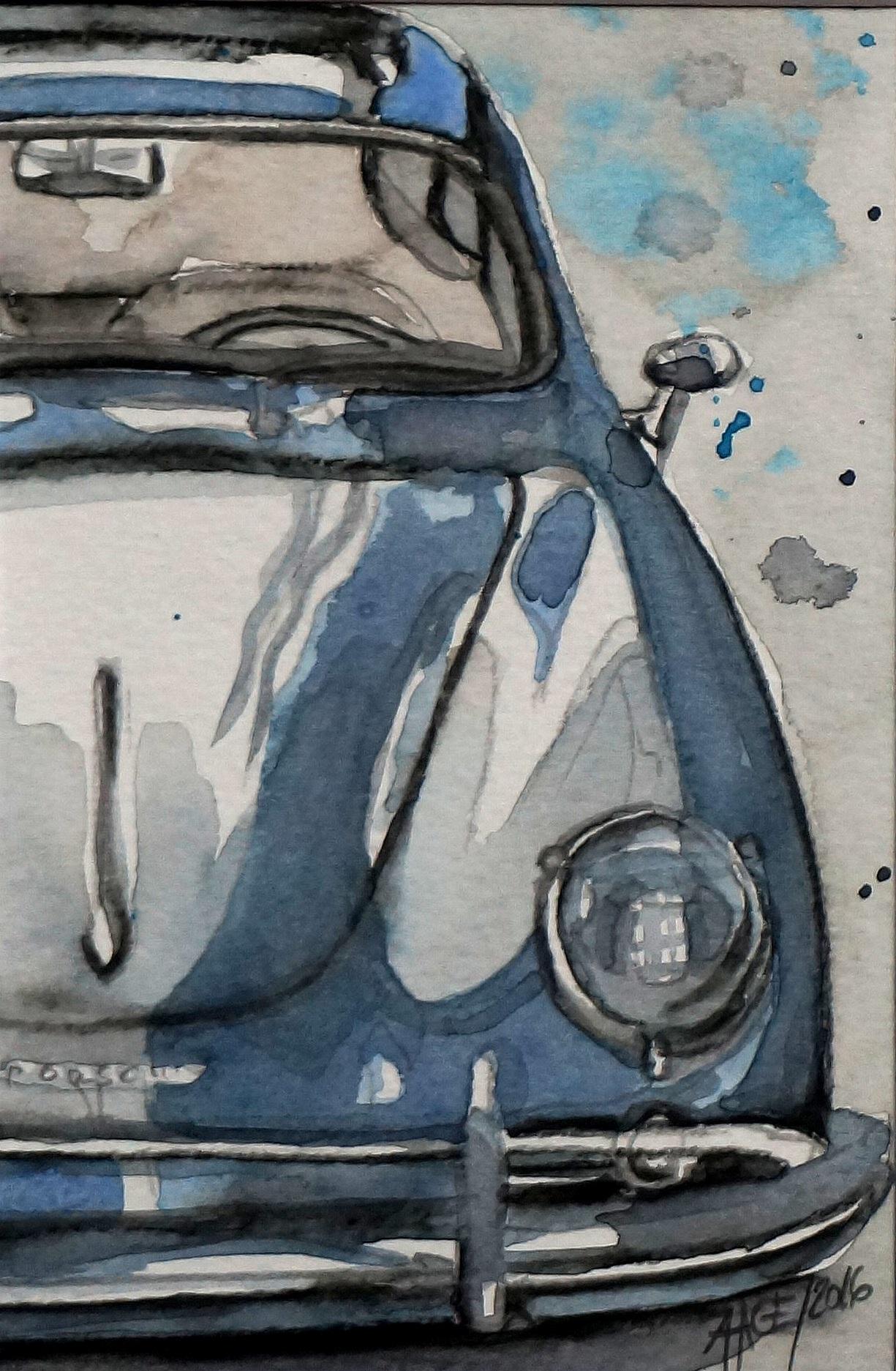 Blauer Porsche | Aquarell | 10 x 15 cm