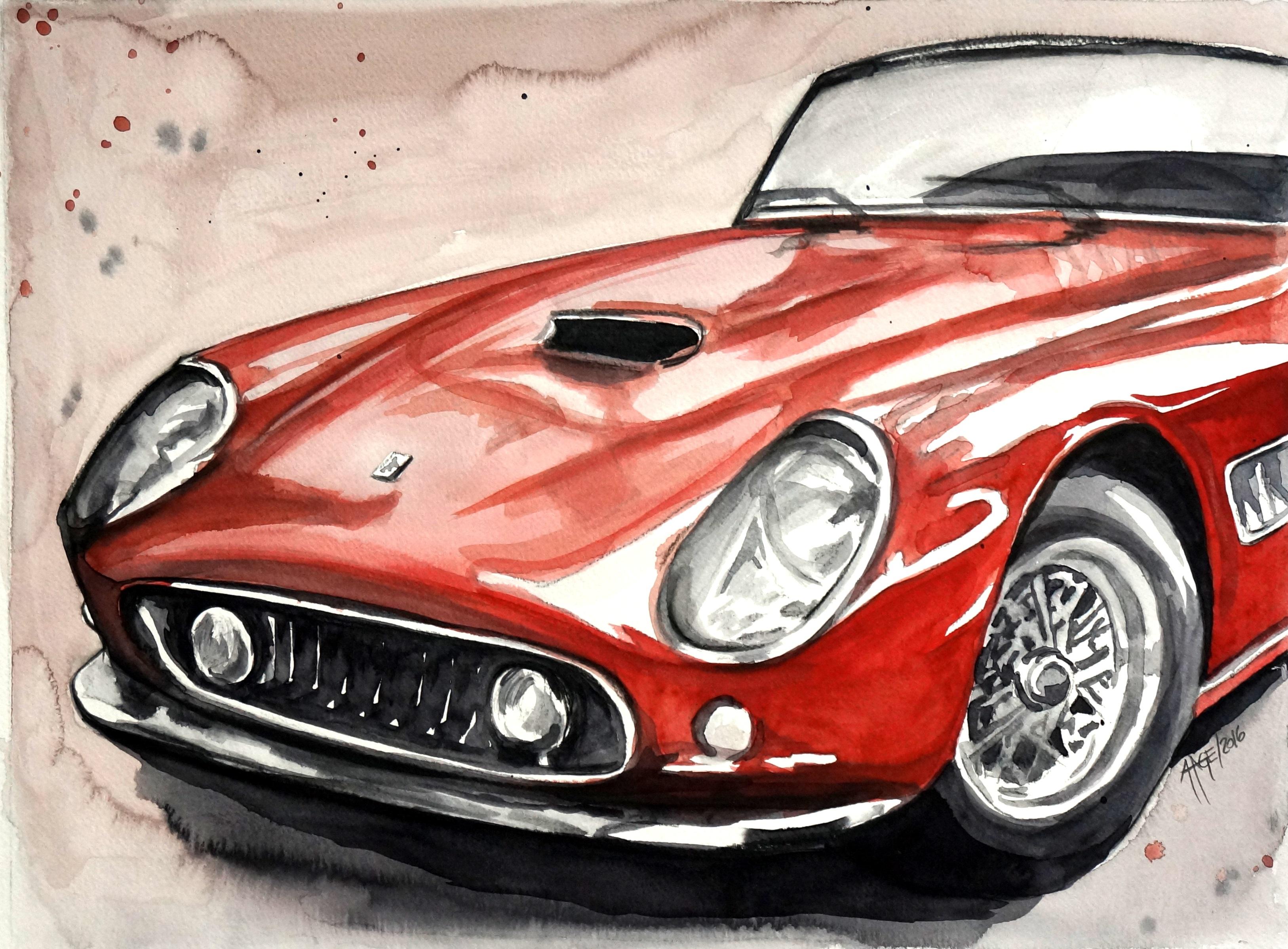 Roter Ferrari | Aquarell | 30 x 40 cm