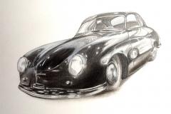 Two Porsches   Kohlezeichnung   30 x 40 cm