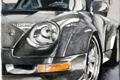 Schwarzer Porsche   Aquarell   16 x 23 cm