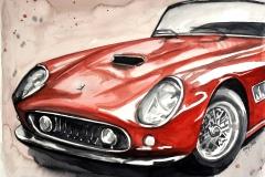 Roter Ferrari   Aquarell   30 x 40 cm
